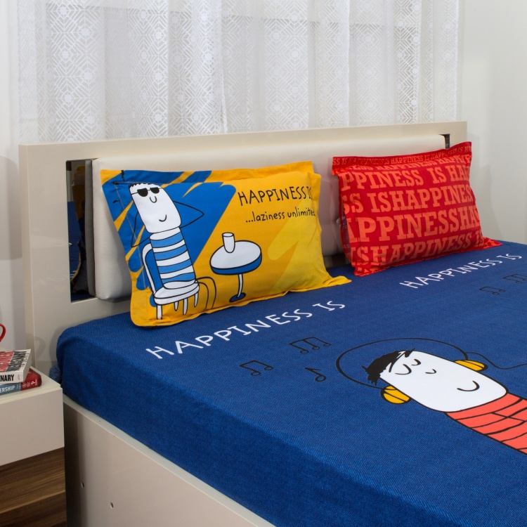 PORTICO HAPPINESS IS Doodle Print 3-Pc. Super King Size Bedsheet Set - 274 x 274 cm