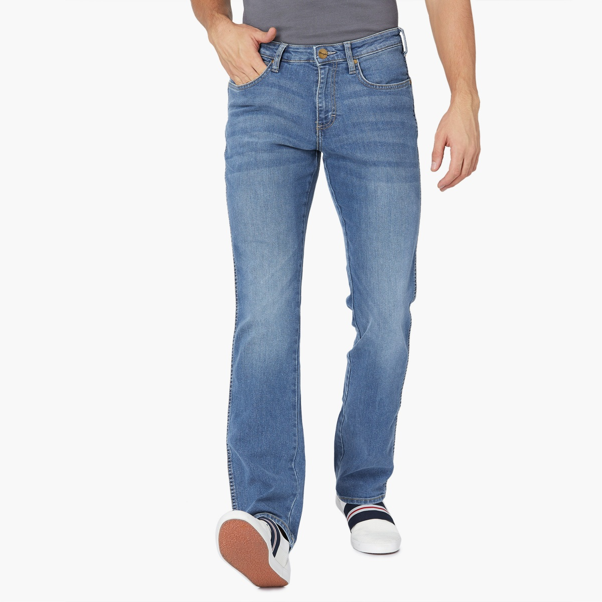 WRANGLER Stonewashed Mid Rise Regular Fit Whiskered Jeans