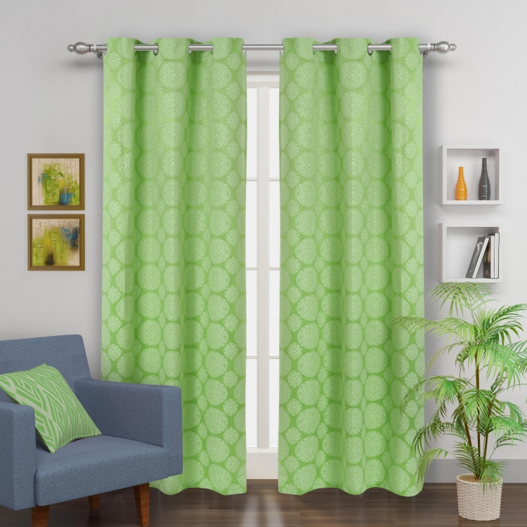 Jade Jacquard Door Curtain-Set Of 2