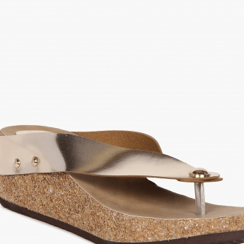 INC.5 Metallic Strap Cork Heels