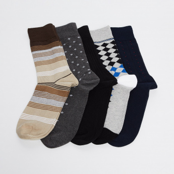 CODE Assorted Formal Socks-Pack of 5 Pairs
