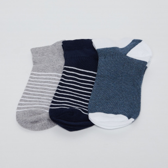 FORCA Striped Ankle Socks- Pack of 3 Pairs