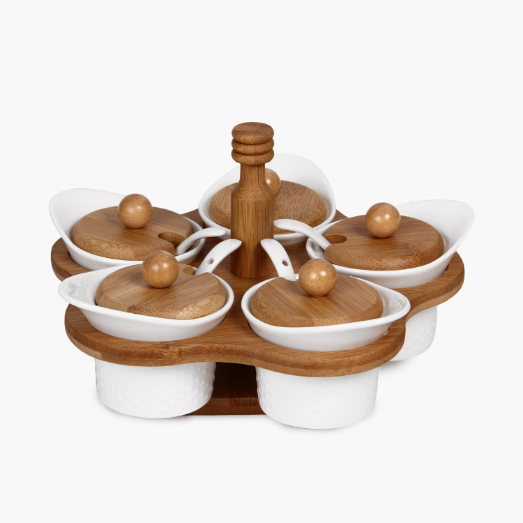 Condiment Set With Spoons & Bamboo Stand - Set Of 5 Pcs