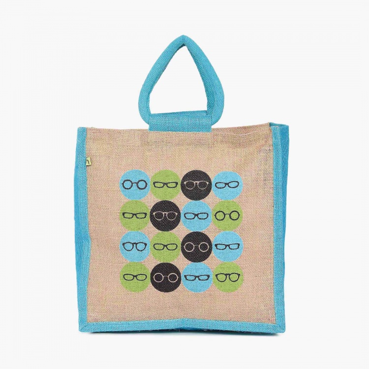 Livia Glasses Print Jute Bag