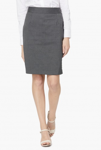 ALLEN SOLLY Solid Formal Skirt