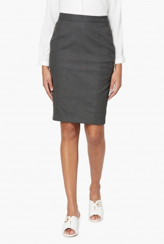 VAN HEUSEN Solid Pencil Formal Skirt