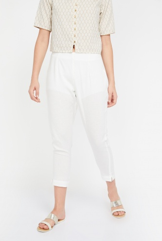 MELANGE Solid Ankle-Length Pants