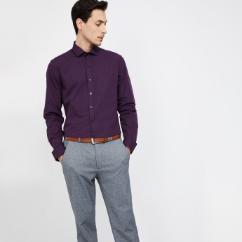 CODE Slim Fit Solid Long-Sleeve Shirt