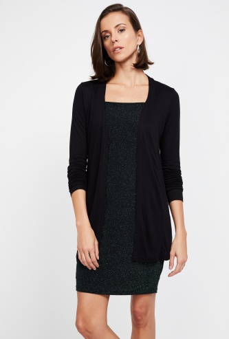 CODE Solid Three-Quarter Sleeve Shrug