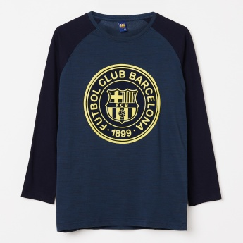 FC BARCELONA FCB Print Raglan Sleeve Colourblock Sweatshirt