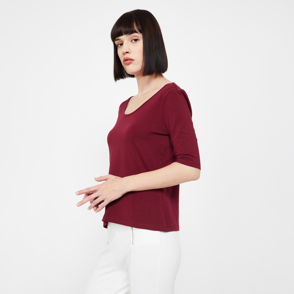 GINGER Scoop Neck Solid Top