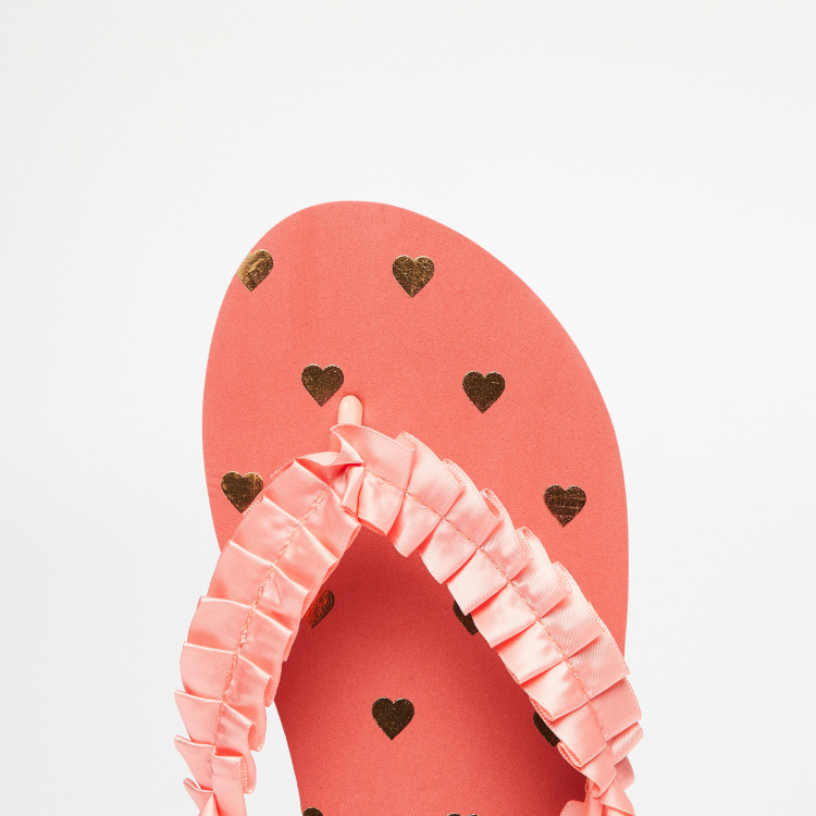 GINGER Scalloped Strap Heart Print Slippers
