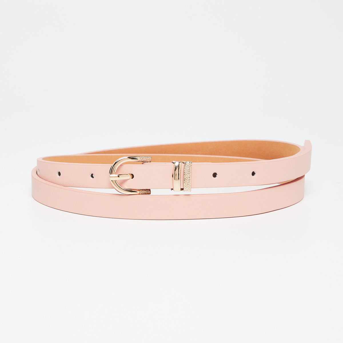 GINGER Solid Gold Tone Buckled Ladies Belt