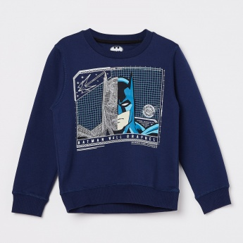 KIDSVILLE Navy Blue Printed Crew Neck Sweatshirt