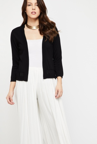 GLOBAL DESI Solid Knitted Shrug