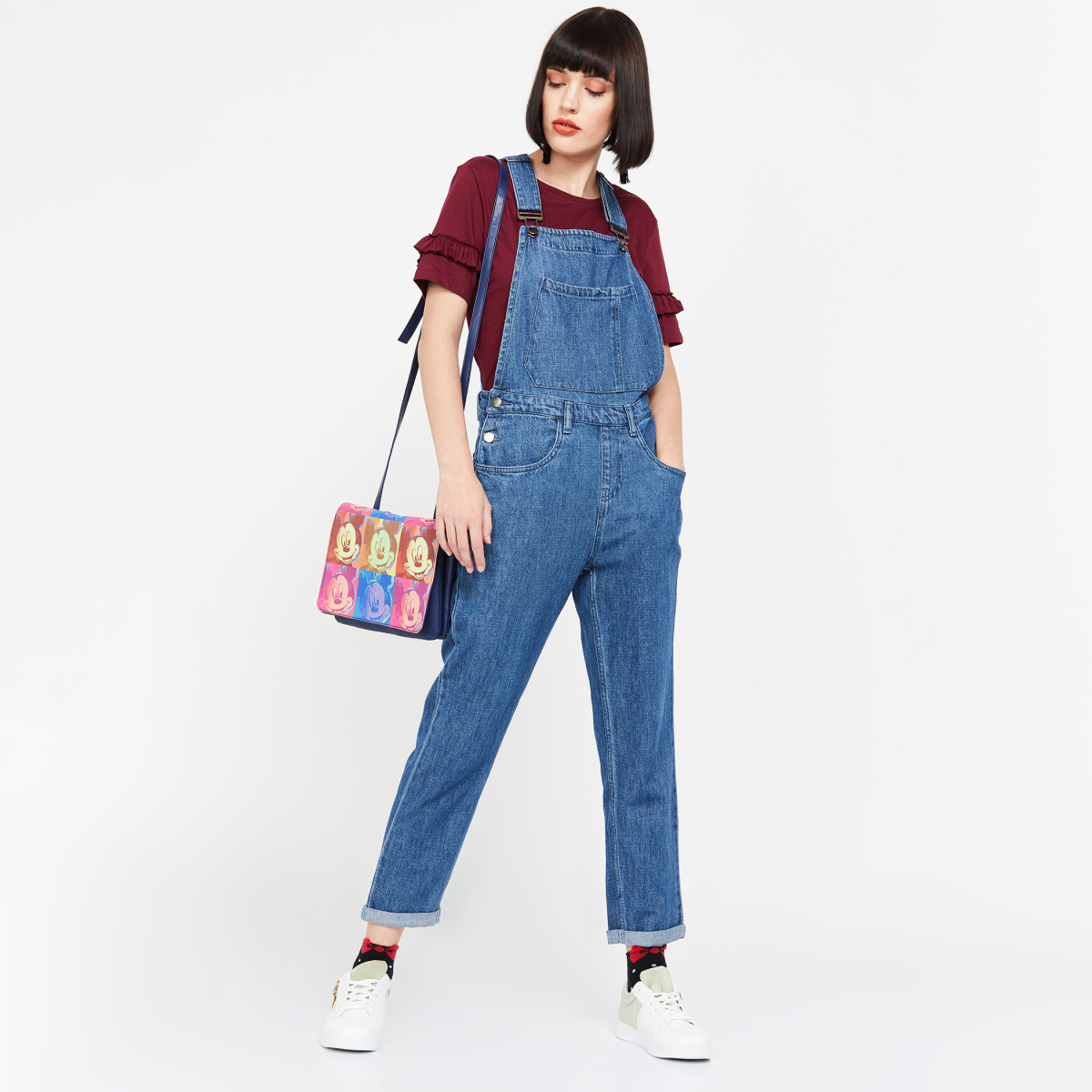 GINGER Denim Cropped Dungarees