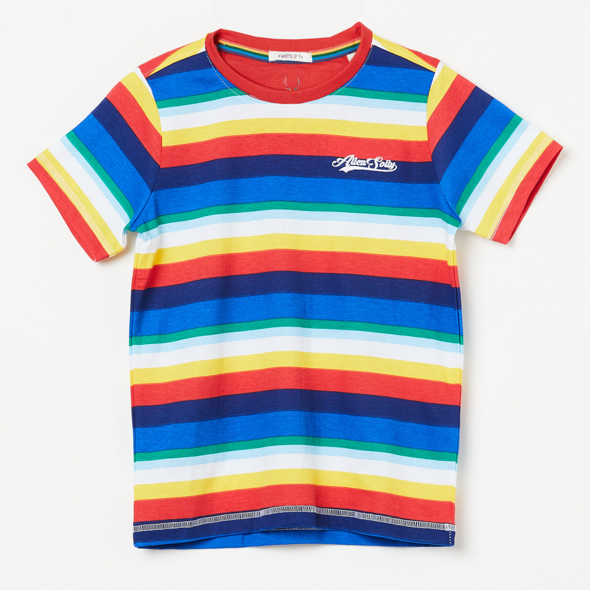 ALLEN SOLLY Striped Crew-Neck T-shirt