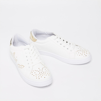 TRUFFLE COLLECTION Perforated Detail Lace-Up Shoes