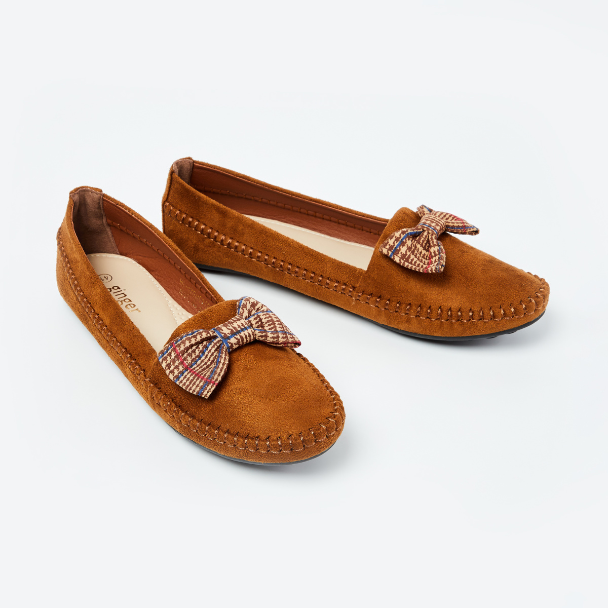 GINGER Textured Loafers with Bow