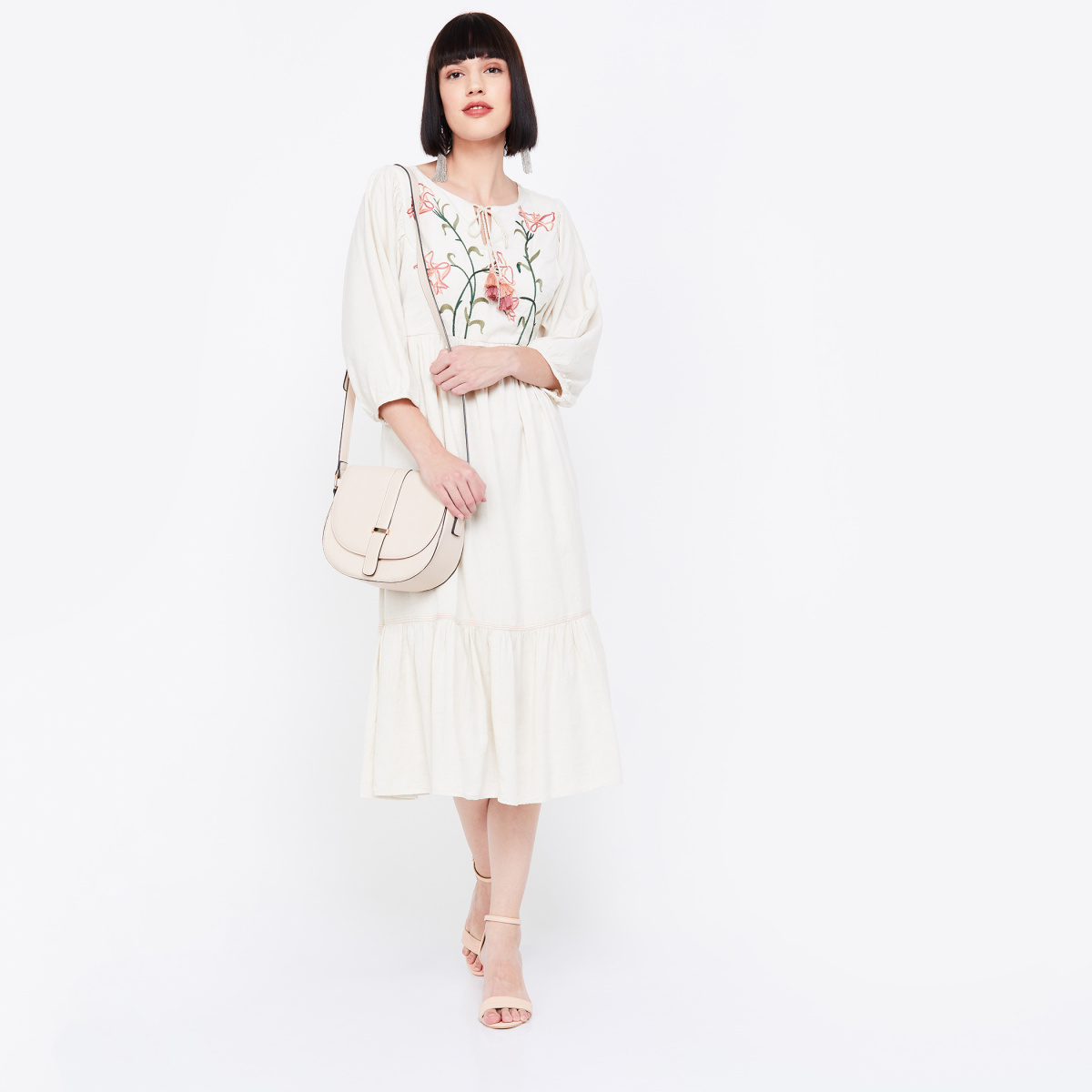 AND Embroidered Three-quarter Sleeves Midi Dress