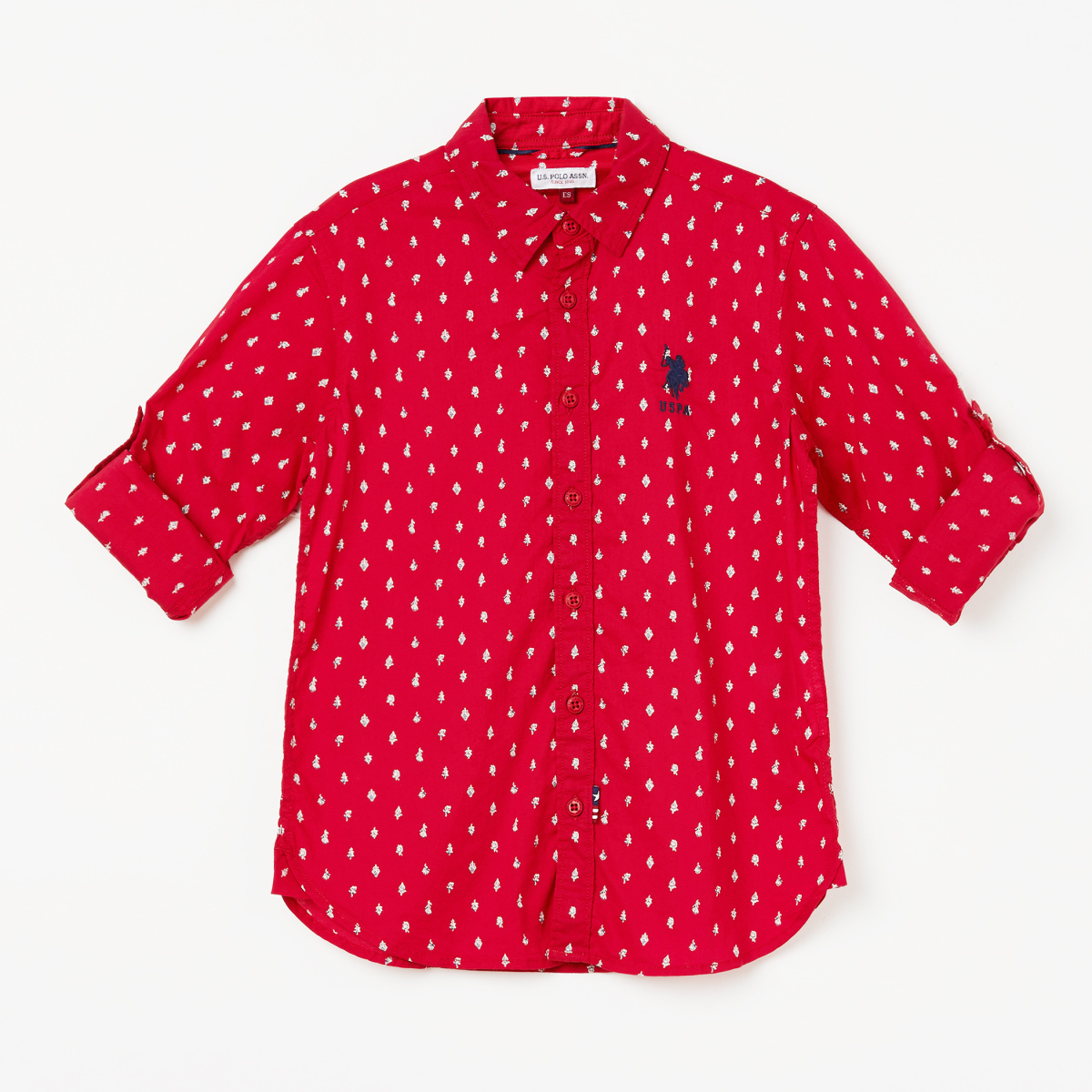 U.S. POLO ASSN. KIDS Printed Roll-up Sleeves Casual Shirt