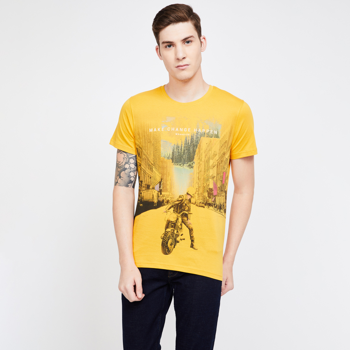 WRANGLER Printed Regular Fit Crew Neck T-shirt