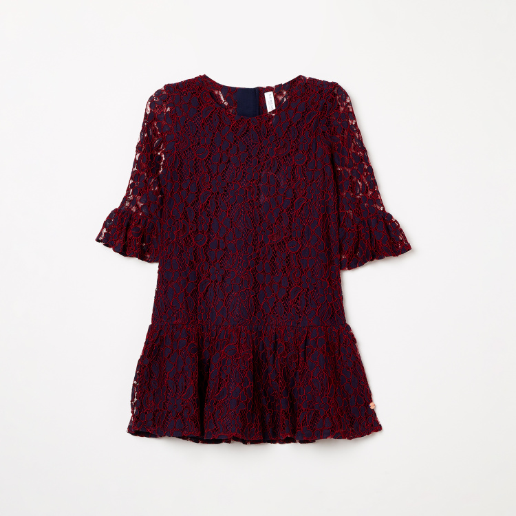 U.S. POLO ASSN. KIDS Round Neck Lace Dress