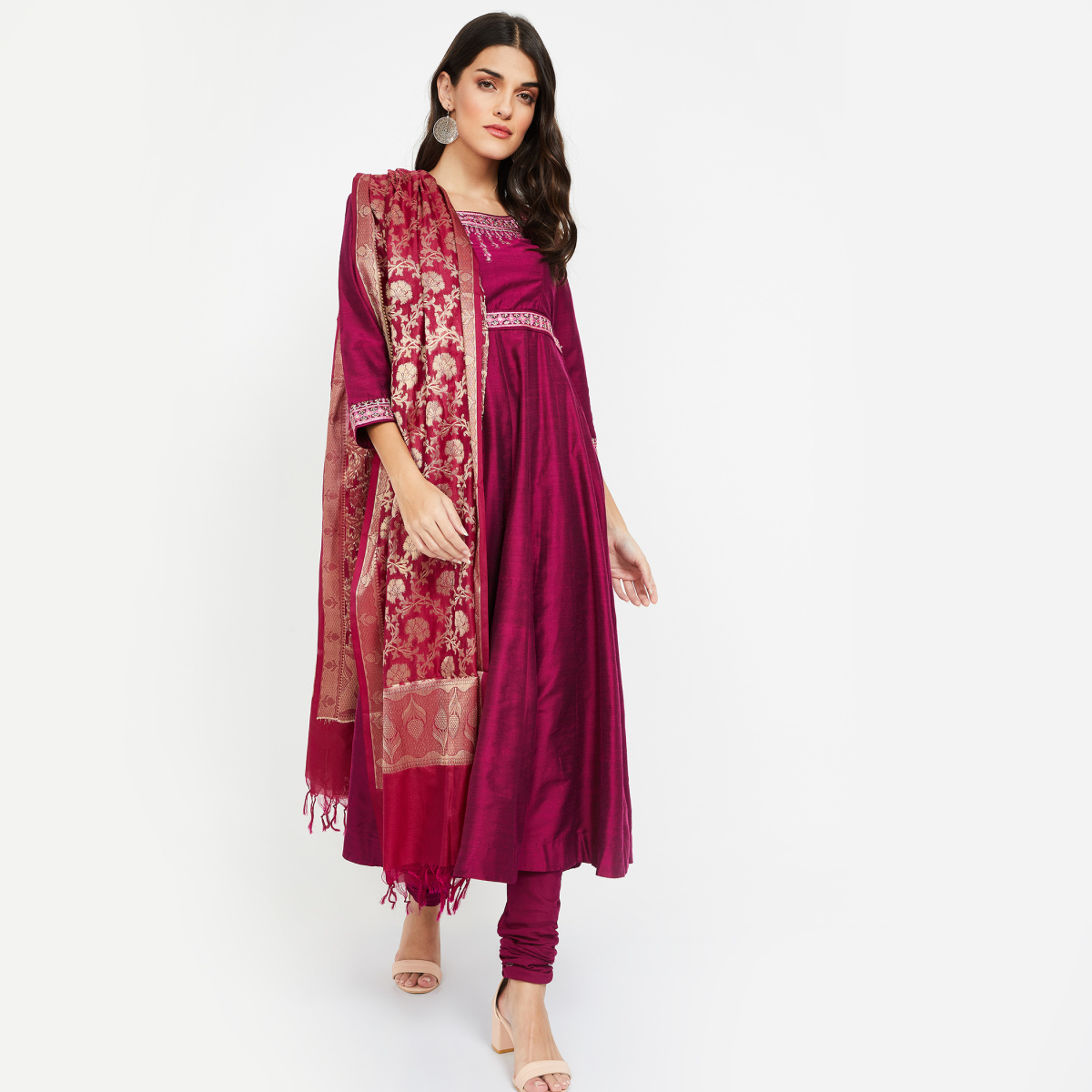 BIBA Sequinned Anarkali Kurta with Churidar & Dupatta