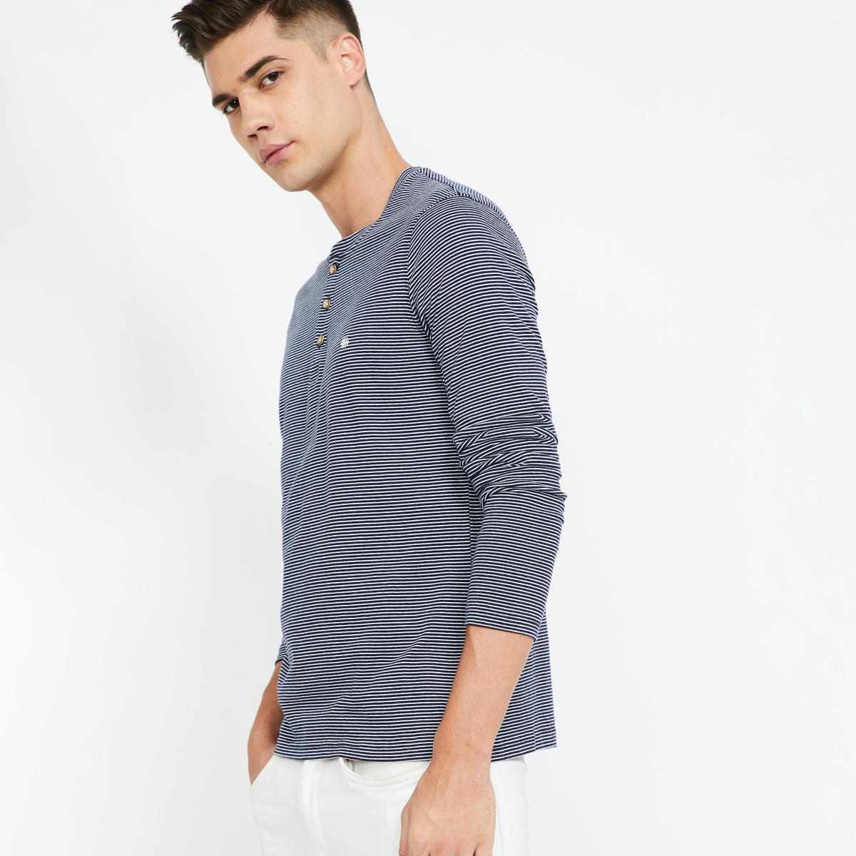 LEE Striped Full Sleeves Slim Fit Henley T-shirt