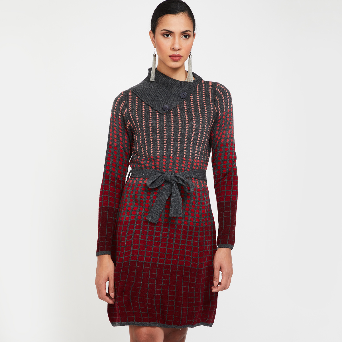 GLOBAL DESI Knitted Dress with Belt