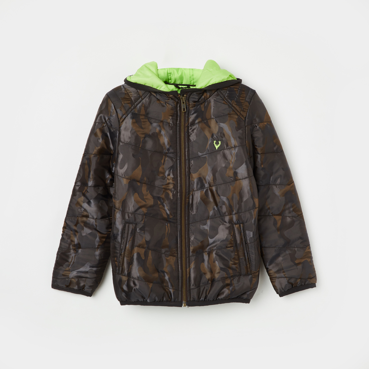 ALLEN SOLLY Camouflage Print Hooded Quilted Jacket