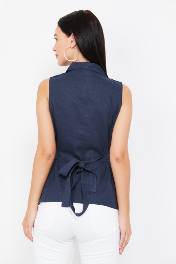 AND Surplice Neck Solid Wrap Top