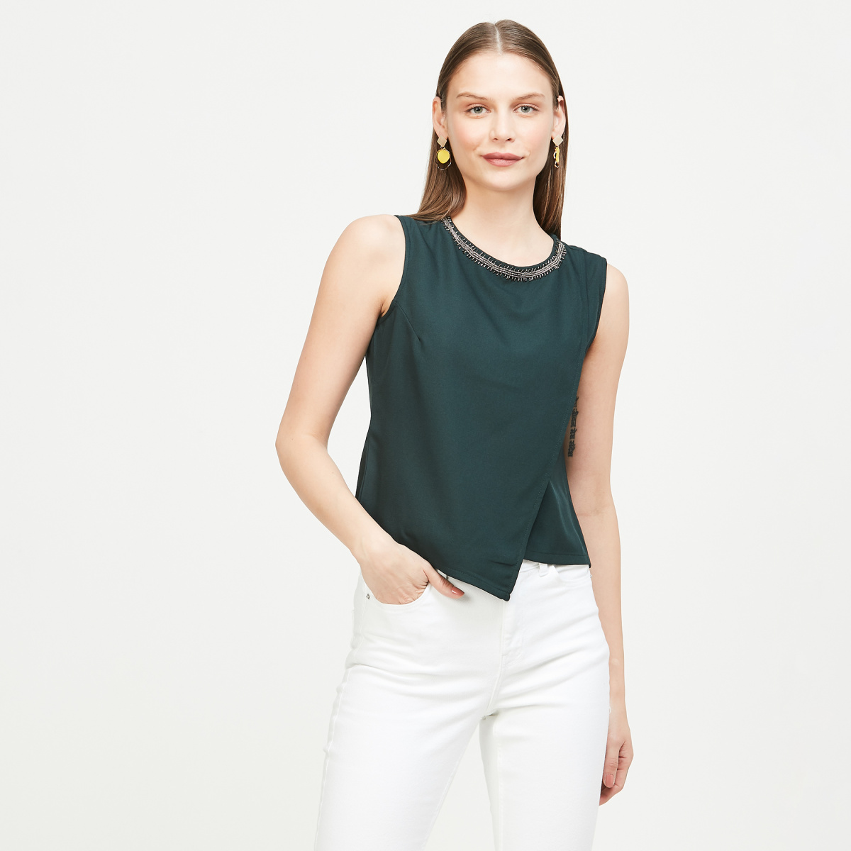 FABALLEY Embellished Sleeveless Top