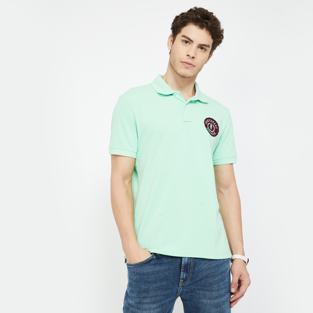 AEROPOSTALE Patchworked Regular Fit Polo T-shirt