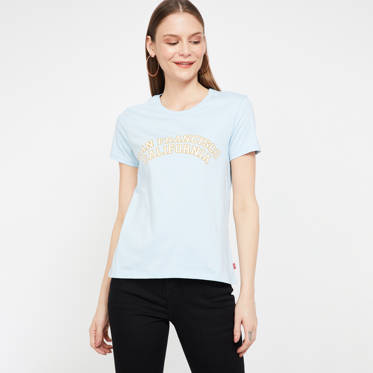 LEVI'S Printed Regular Fit Cap Sleeves T-shirt