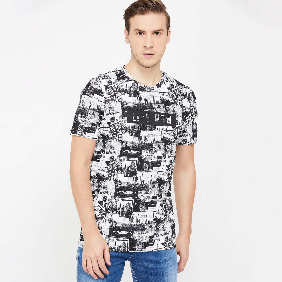 LEE COOPER Men Printed Regular Fit Crew Neck T-shirt