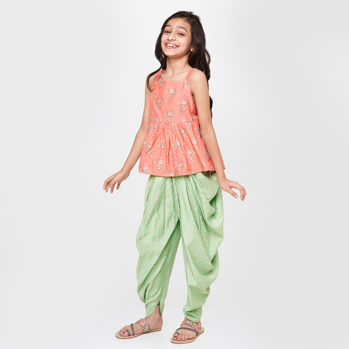 GLOBAL DESI Printed Sleeveless Top with Patiala Pants