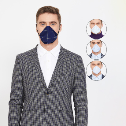 CODE Men Printed 4-Layered Anti-Viral Reusable Masks - Pack of 4 Pcs.