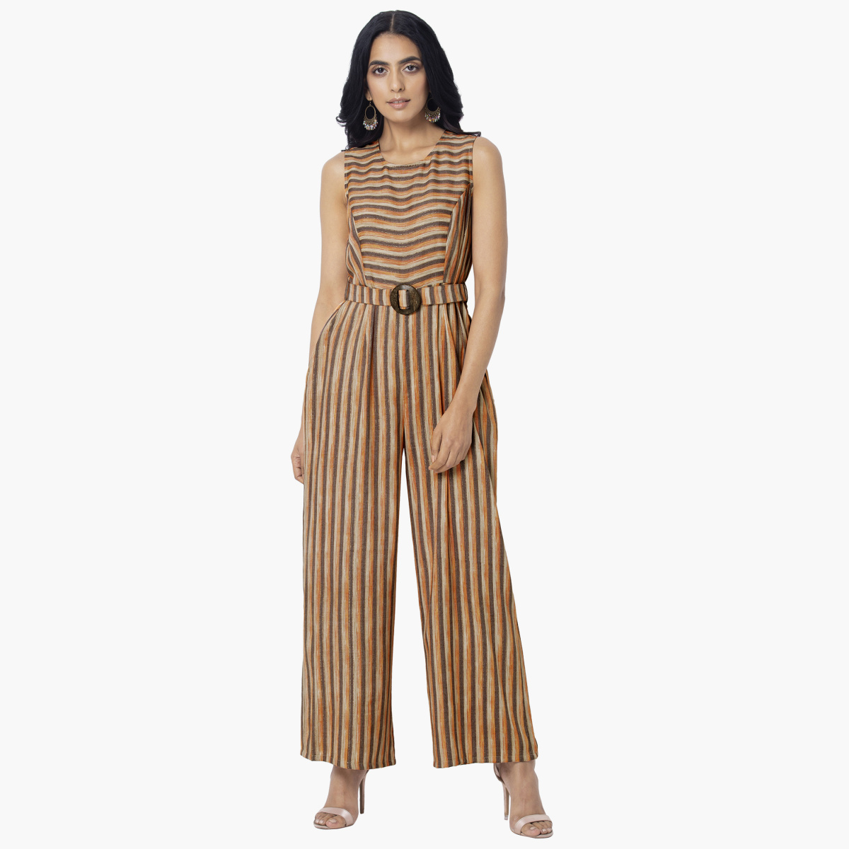 INDYA Women Striped Sleeveless Jumpsuit with Fabric Belt