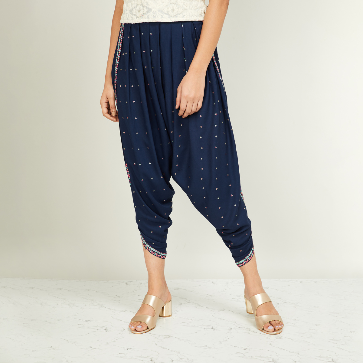 W Women Embroidered Patiala Pants