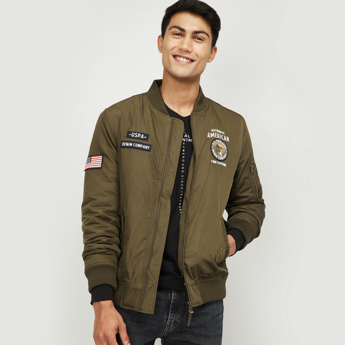 U.S. POLO ASSN. Men Printed Bomber Jacket